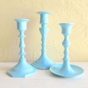 Set of 3 Turquoise Blue Metal Candlesticks Holiday